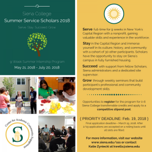 Paid Summer Internship Program – Summer Service Scholars 2018
