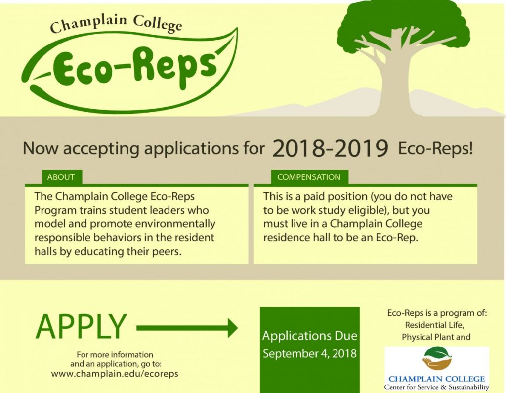 Now Accepting Applications for Fall 2018 Student Eco-Reps.