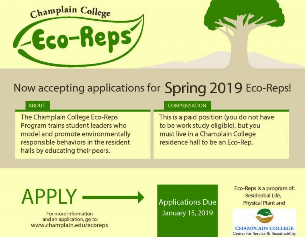 Now Accepting Applications for a couple Spring 2019 Student Eco-Reps.