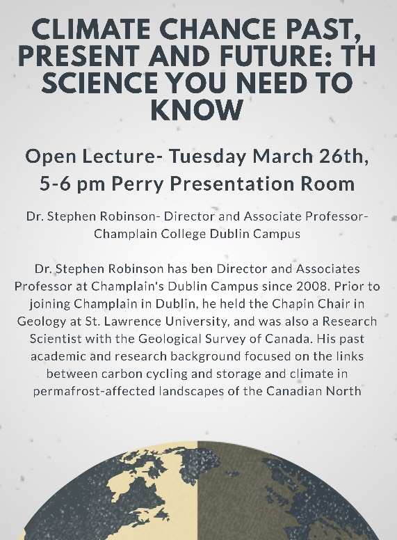 Climate Change Past, Present, and Future with Dr. Stephen Robinson – March 26